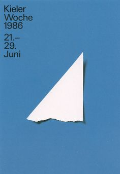 Pierre Mendell, poster design for sailing week Kieler Woche, 1986. Germany.
