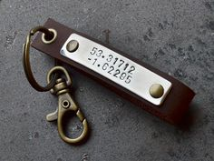 Mens Accessories keychain  Leather Latitude by GunmetalGems, $24.50