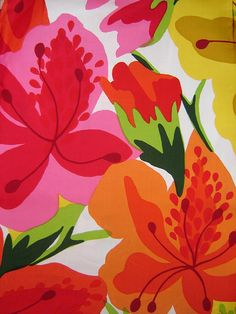 1970's Abstract Floral Fabric, via Flickr.