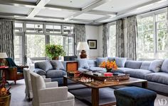 Blue Sectional - Coffered Ceiling - Family Room - Home Decor - Color Inspiration