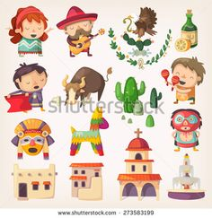 People, tourists and national heroes of Mexico. Design elements and icons with local architecture and traditions. - stock vector