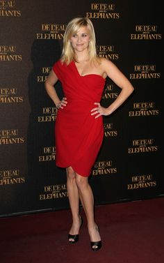 Reese Witherspoon wearing Giambattista Valli dress, Christian Louboutin Armadillo pumps,