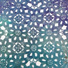 Detail of Hand dyed vintage doily, crochet doily, purple, violet, lavender, dull blue, light blue grey, dull teal, textile supply, fibre art supply