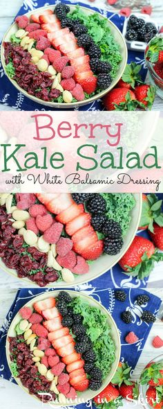 Super tasty Berry Summer Kale Salad recipes.  Vegan, whole foods, healthy recipes for a quick summer meal.  Easy and simple salad with strawberry, blackberry and rasberry.  Served with white balsamic vinaigrette and sweet dried cranberries. I eat this for lunch and dinner all summer- so delicous!  | Running in a Skirt