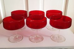 Stemmed Dessert Glasses in Ruby with clear stem by BlkBttrflyDsgns