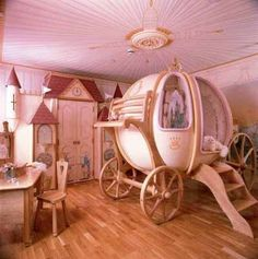 princess room ~ Cute for a little girl's room! Love the carriage bed! Girls Room Design, Girl Bedroom Designs, Girls Bedroom, Bedroom Decor, Bedroom Ideas, Nursery Ideas, Girl Nursery, Nursery Room, Nursery Pictures