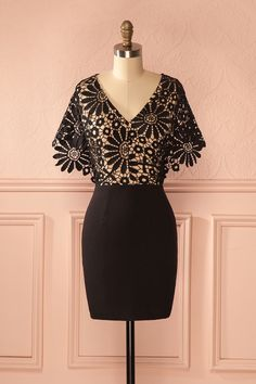 Jaydra Sombre - Black lace crochet dress