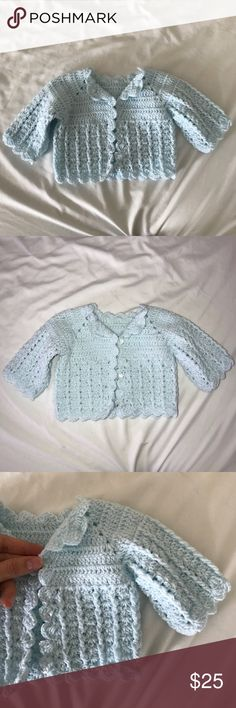 Baby Girl Hand Made Sweater 💗 These are so cute and delicately made by hand. My daughter wore them 1 time each. I'd say the light blue fits size 3months and the green a 3-6months. Jackets & Coats Blazers