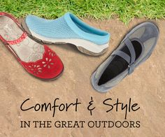 Spending time outdoors does not mean that you should be wearing a combat boot. There's a happy medium where you can wear a feminine style with durability, water resistance and traction too. Look for features such as contrasting colors, pops of color on laces, sleek slip-on Mary Jane styling, surprises on the insoles, and trend-inspired cut outs.