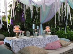 Bohemian Wedding Seating - like the lace table cloth not sure it where it would go though - maybe lace as part of the main table linen?