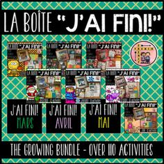 """Each month will include between 10-12 activities for students to choose from. The activities will vary from month to month. They will mostly include literacy and interactive activities and one math related activity. """"LA BOÎTE """"J'AI FINI!"""" is a great solution to the """"Madame/Monsieur...J'ai fini..."""" statements we hear over the course of the day.   The activities come with easy to follow instructions so that students can complete each activity independently. Classroom Calendar, Classroom Labels, Classroom Jobs, Classroom Activities, Teaching Materials, Teaching Resources, Primary Resources, Teaching Tools, Math Word Walls"""