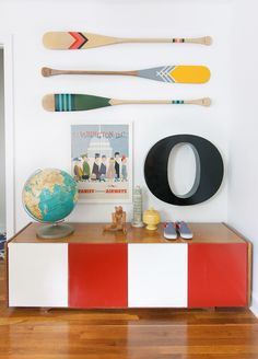 Artisan canoe paddles by Norquay Co. Styling by Pencil & Paper Creative Development Co. Nantucket, Les Hamptons, Deco Marine, Red Pictures, Pencil And Paper, Deco Design, Home And Deco, Papers Co, Kid Spaces