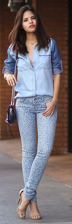 Bella Dahl Blue Women's Denim Abstract Print Skinnies by Fake Leather