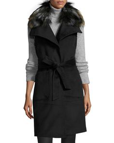 Belted Long Vest Coat w/ Removable Faux-Fur Collar, Black