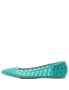Qupid Crocheted Lace Ballet Flats: Charlotte Russe #flats #balletflats #crocheted