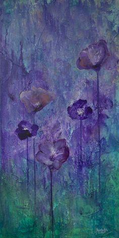 'Purple Flower Garden' from Beverly Ash Gilbert Art Gallery. #purple, #teal, #abstractart