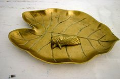 Vintage Brass Leaf Dish with Moth. $32.00