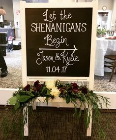 Adorable and whimsical welcome signage to the reception! I had the most fun with this signage! Rose Wedding, Wedding Day, Cabbage Roses, Art Quotes, Signage, Whimsical, Reception, Weddings, Pretty