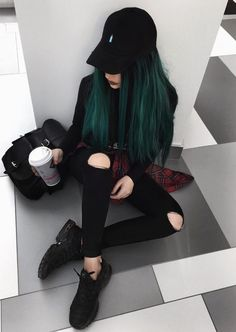 Black cap with sweatshirt, skirt, ripped pants & black sneakers by evalevinskaya - blacky hair styles 36 Black Outfits Ideas Worth Checking Out Hair Dye Colors, Cool Hair Color, Alternative Outfits, Alternative Fashion, Pelo Multicolor, Elegantes Outfit, Dye My Hair, Grunge Hair, Black Sneakers