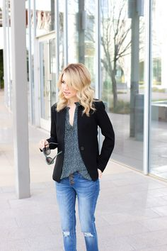 Flow blouse + structured blazer = perfect for work or date night