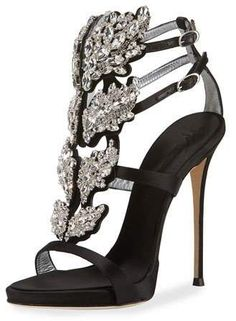 affiliatead -- Giuseppe Zanotti Satin Wing Jeweled Sandal --  chic only   0736a41a5111