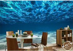 Charming Deep sea Photo Wallpaper Custom Ocean Scenery wallpaper Large Mural Wall painting Room Decor Silk wall Art Bedroom Kid's room Home
