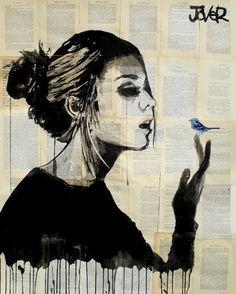 "Saatchi Online Artist Loui Jover; Drawing, ""blue bird"" #art"