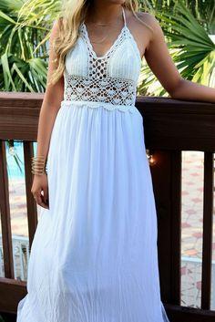 French Paradise Crochet Halter Top White Maxi Dress