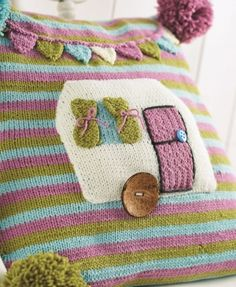 Cute caravan cushion - free knitting pattern download from Let's Knit!
