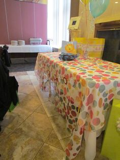 Chameleon linen used at a baby shower-- over a white linen