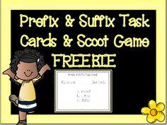 Prefix & Suffix Task Cards and Scoot Game Freebie