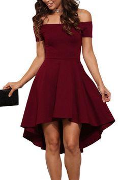 Burgundy Sexy Off Shoulder Irregular Hem Dress