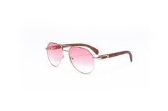 8a23291644 Items similar to Vintage Wood Collection Gold   Gradient Pink Aviator  Sunglasses