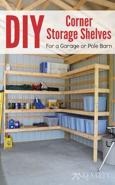 39 DIY Corner Shelves Ideas for Garage Storage. As you add an increasing number of shelves to the faces of the garage, before long you'll find yourself with less space. Since these shelves are g. Corner Storage Shelves, Diy Corner Shelf, Barn Storage, Garage Shelving, Storage Ideas, Shelving Ideas, Storage Systems, Building Shelves In Garage, Diy Garage Storage Shelves
