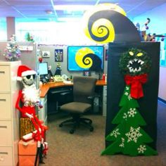 Office Desk Halloween Decorations My Nightmare Before Christmas Decorate Cubical Contest Jack Skellington Christmas Cubicle Decorationsdesk Christmas Cubicle Decorations, Office Christmas Gifts, Nightmare Before Christmas Decorations, Cheap Halloween Decorations, Christmas Door, Christmas Themes, Office Christmas Decorating Themes, Christmas Jokes, Grinch Christmas