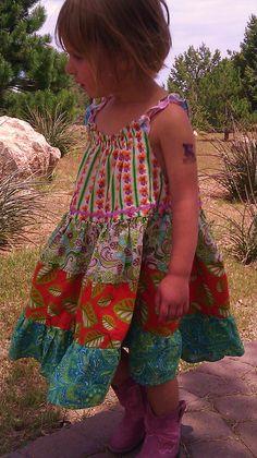 Twirl Peasant Sundress  Tangerine and Blue  Sizes by TwirlandTango, $45.00
