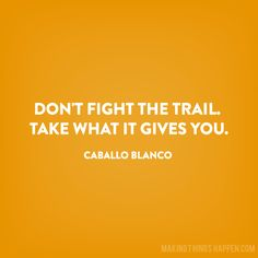 Make Things Happen Don't Fight the Trail Caballo Blanco Quote by Natalie Norton… Running Posters, Running Quotes, Running Motivation, Fitness Motivation, Run Like A Girl, Just Run, Girls Be Like, Born To Run, Running Inspiration