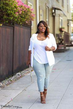 Stylish Plus-Size Fashion Ideas – Designer Fashion Tips Outfits Plus Size, Dress Plus Size, Curvy Outfits, Plus Size White Outfit, Plus Size Fashion For Women, Black Women Fashion, Womens Fashion, Plus Size Clothing Stores, Plus Size Womens Clothing