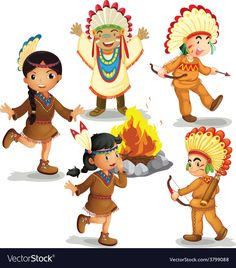 Indians vector image on VectorStock Woodland Illustration, Cute Illustration, Native Indian, Native American Indians, Red Indian Costume, Indian Drawing, Crochet Applique Patterns Free, Indian Dolls, Step Kids
