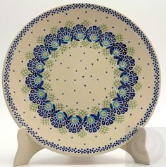 "Polish Pottery - 10"" Dinner Plate - Peacock's Pride 