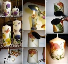 Candles Decorated With Dried Flowers
