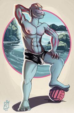 Machoke swimsuit commission - swimsuit, trunks, leather, spandex, latex, barefoot, big feet, pale soles, pose, beach, pecs, abs  iisjah.deviantart.com/art/Mikey-swimsuit-commission-374453778