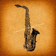 Vintage Art Saxophone Print Home Decor Antique Music Print with Vintage Paper Vignette Background No.1120 B3 8x8 8x10 11x14 @ sparrowhouseprints.etsy.com