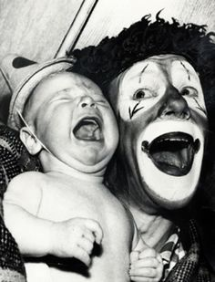 Clowns~ apparently we are pinning things that terrify us now...LOL!! Add this to the mix~ Just put MY face where the baby's face is and  you got it!!!