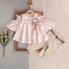 A Very Chic Set For Girls 6 - 36 Months.Perfect Outfit For Any Spring Event! - AnneBebe Brand - Bebus Kids Laura Biagiotti, Pale Pink, Peplum, Beige, Spring, Girls, Outfits, Women, Fashion