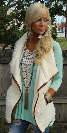 Ivory Fur and Leather Trim Vest - The Lace Cactus