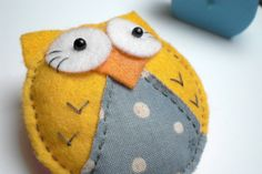 Yellow Felt Owl Brooch