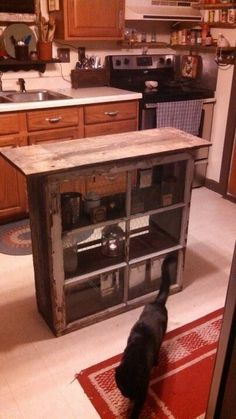 Made with old windows and barn wood as a kitchen island. Skinny kitchen island for small kitchen. Repurposed Furniture, Rustic Furniture, Diy Furniture, Furniture Dolly, Furniture Vintage, Refurbished Furniture, Furniture Stores, Industrial Furniture, Vintage Industrial