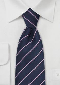 Krawatte Streifen navyblau rose