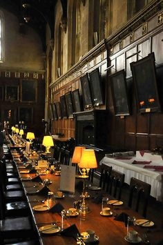 The dining table of Christchurch College, Oxford University (Harry Potter)
